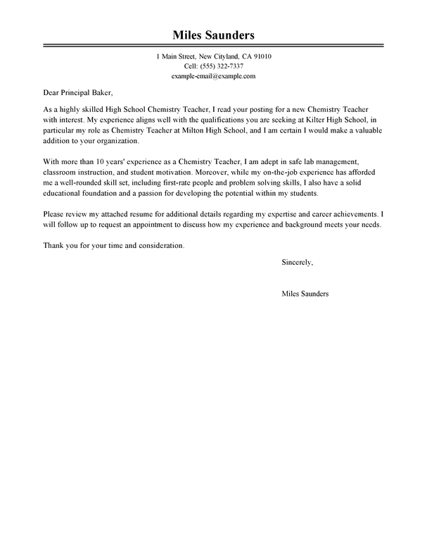 education cover letter new teacher