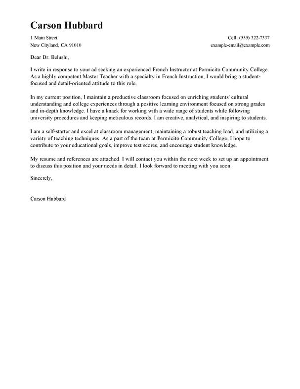 Example Teacher Cover Letter