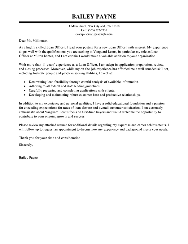 assistant loan officer cover letter