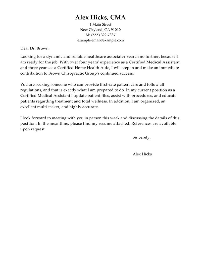 example of cover letter for healthcare jobs