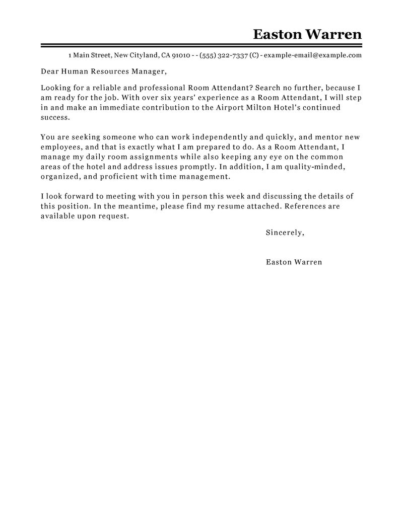 Letter Samples For Character Boxfreeconcepts Best Room Attendant Cover Letter Examples Livecareer