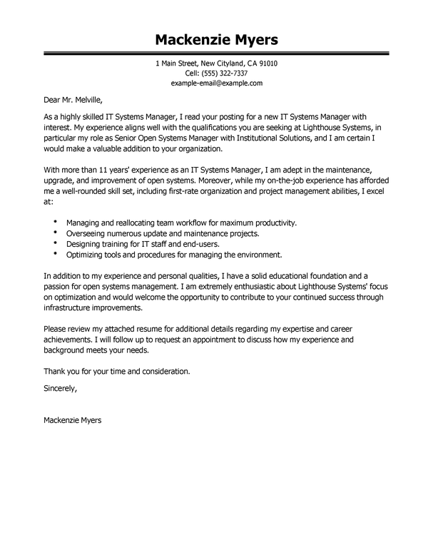 Software Engineer Cover Letter And Resume Examples It Cover Letter Examples Livecareer
