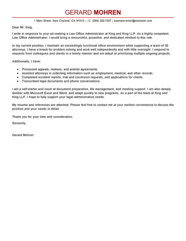cover letter for office administrator
