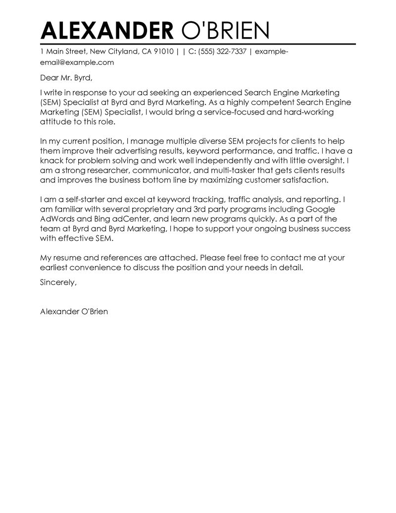 Leading Accounting Finance Cover Letter Examples Best Sem Cover Letter Examples Livecareer