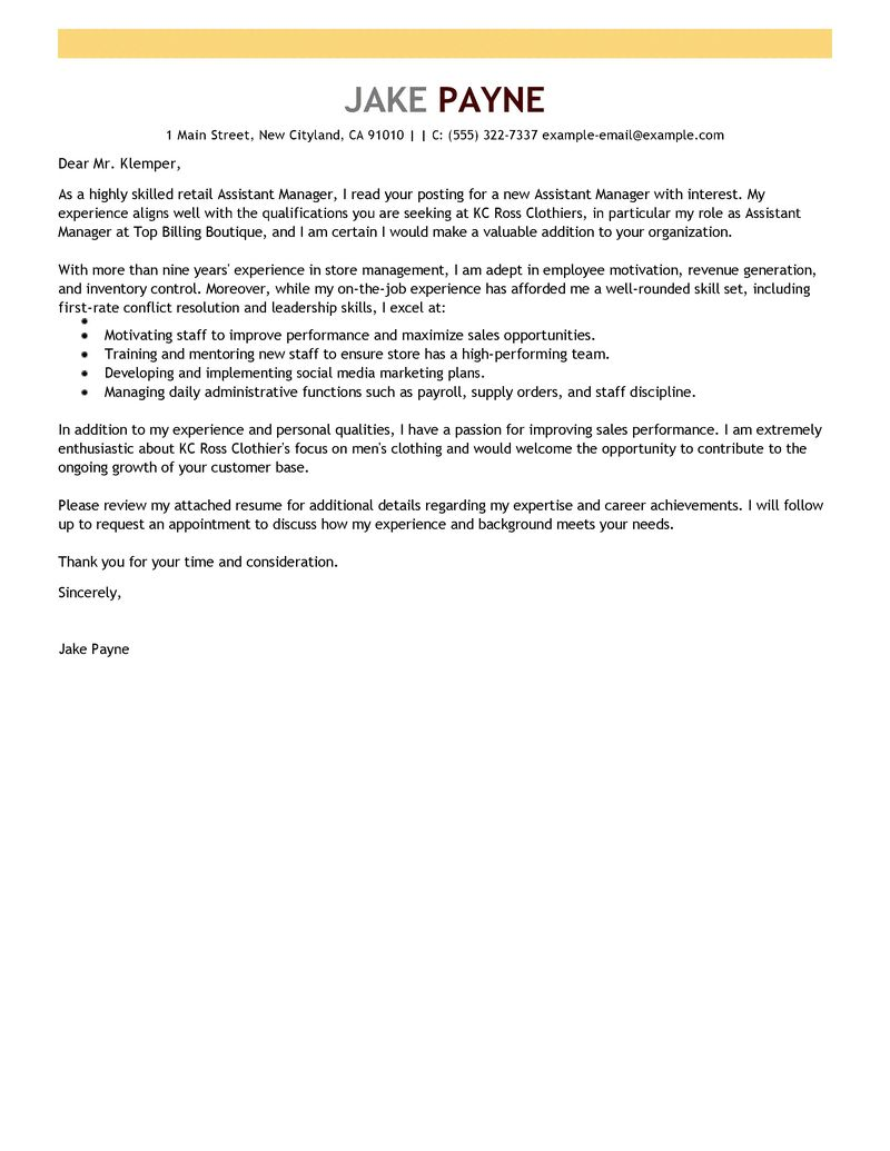 example of cover letter retail s assistant cv examples and example of cover letter retail s assistant marketing cover letter example sample best retail assistant manager