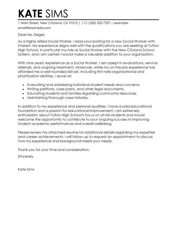 Cover Letter Template Social Worker | Resume Builder Customer ...