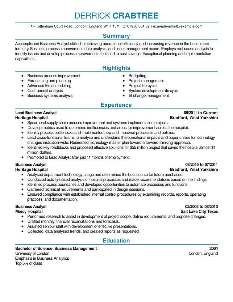 business data analyst resume example