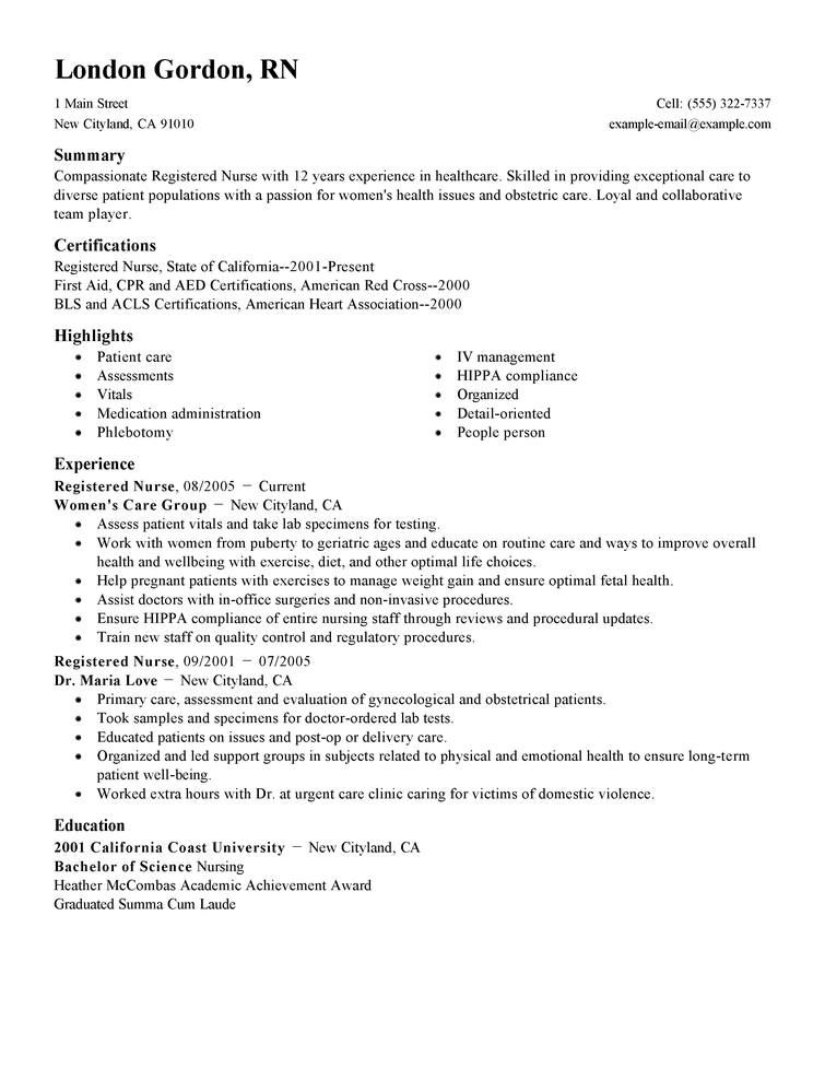 cv for nursing job
