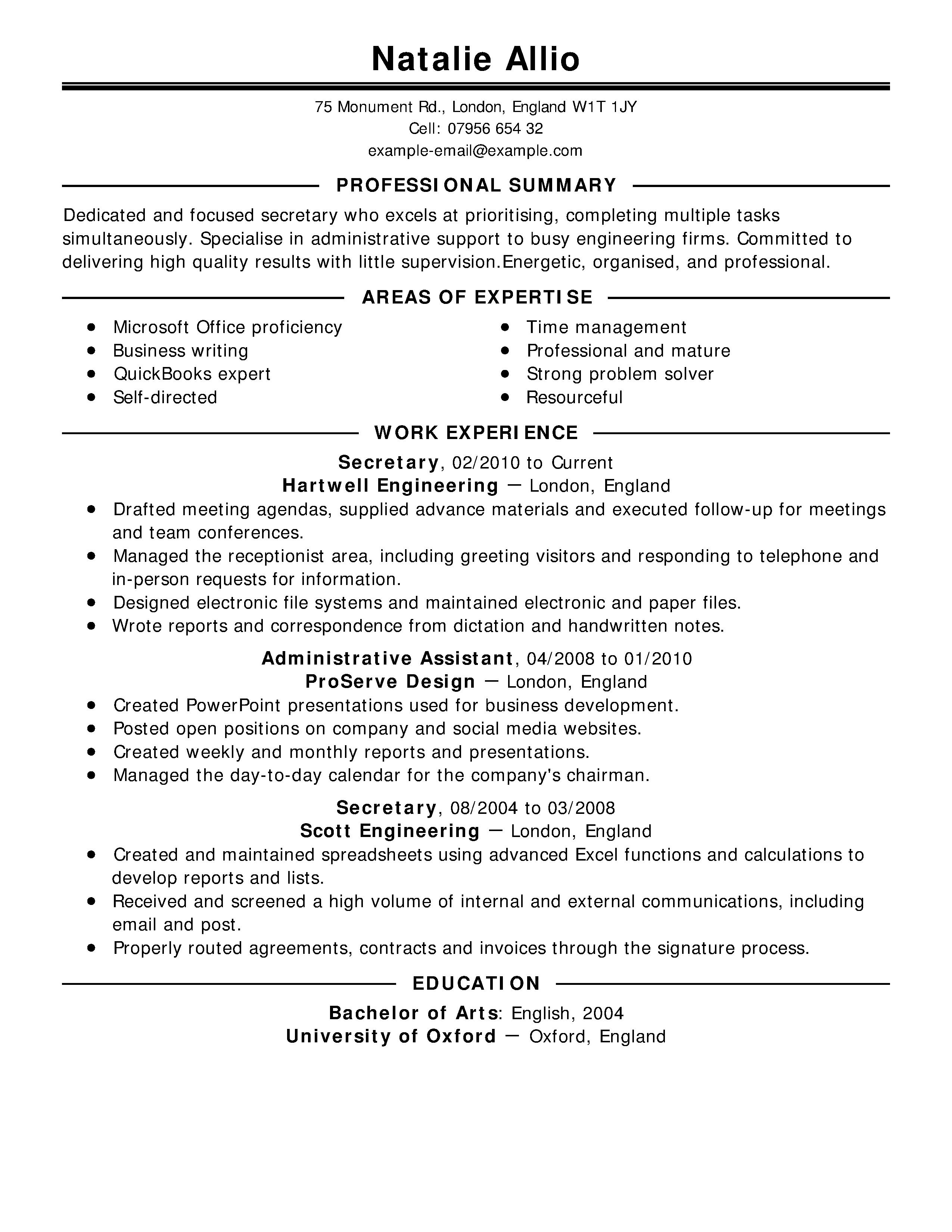 example job resume