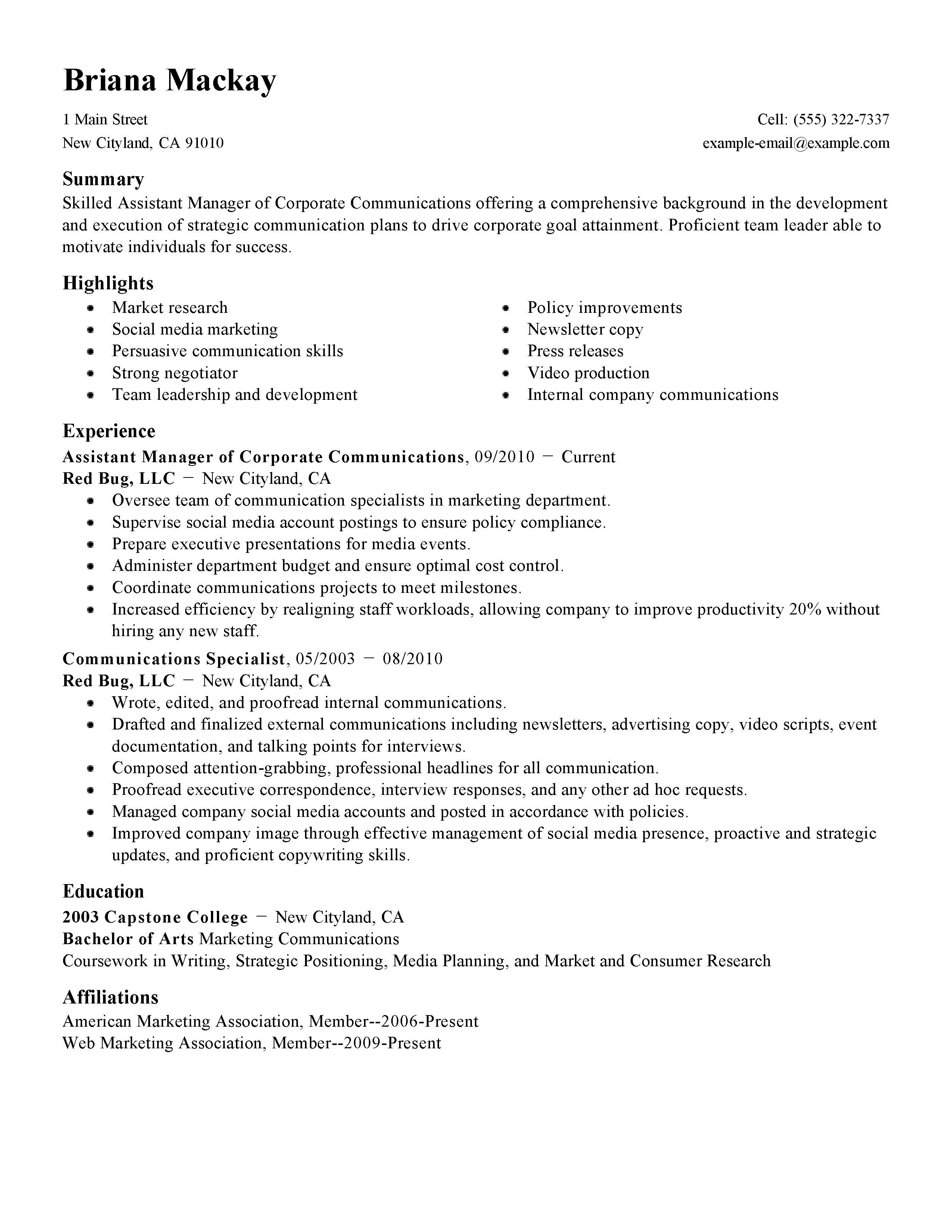 social media marketing resume templates