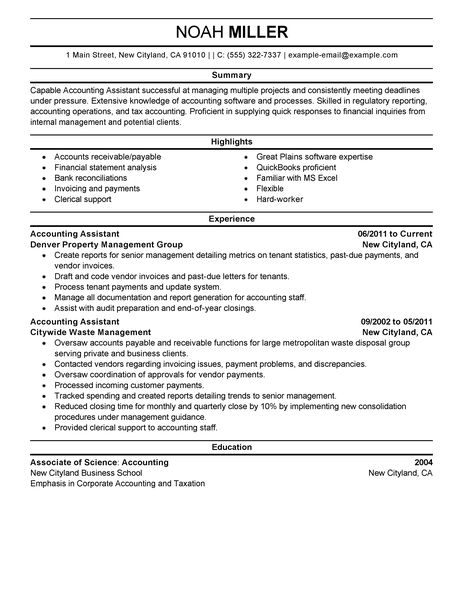 Best Accounting Assistant Resume Example LiveCareer - resume examples for professional jobs