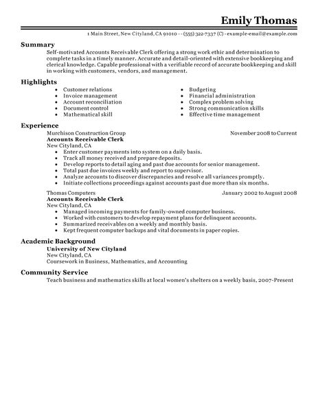Accounts Receivable Job Description Job Interviews Best Accounts Receivable Clerk Resume Example Livecareer