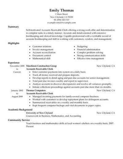 Best Accounts Receivable Clerk Resume Example   LiveCareer