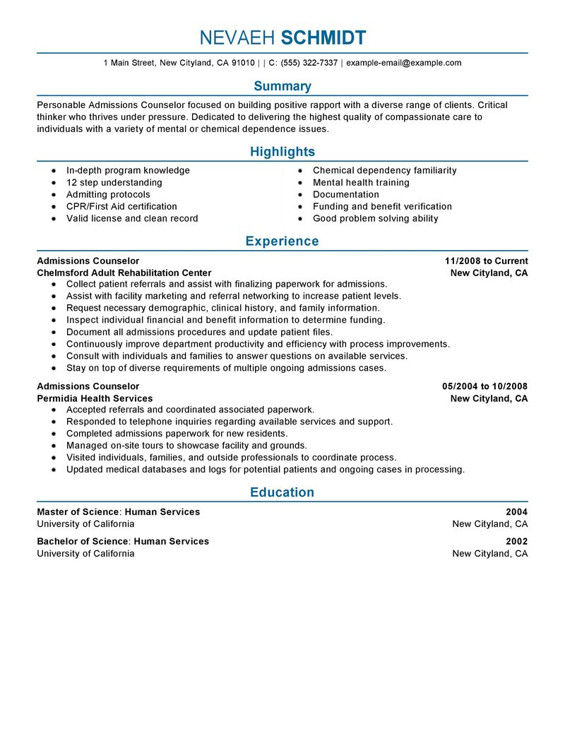 admissions counselor example resume