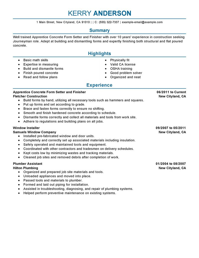 sample resume for sheet metal worker  free resume builder  also sample resume for sheet metal worker sample resumes for construction worker