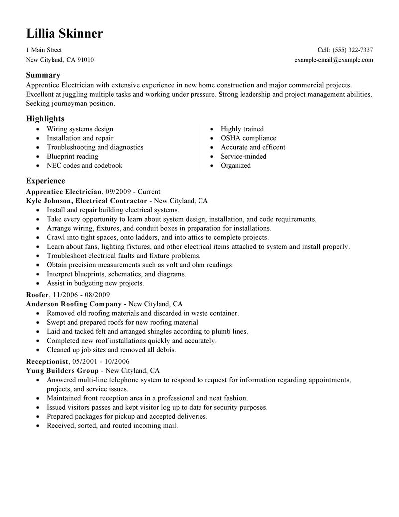 apprentice electrician resume sample resume experience pinterest iti electrician resume sample construction electricians resume electrician helper - Carpenter Resume Sample