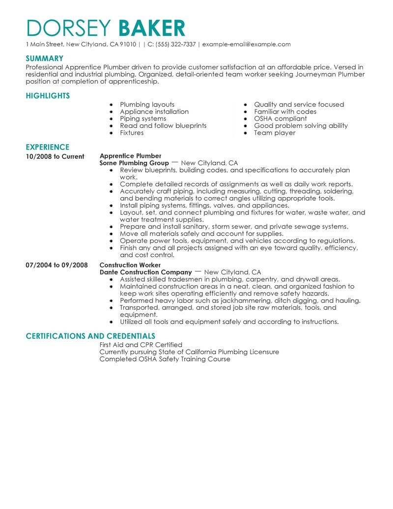 Welcome To The Workforce Recruitment Program Wrp Best Apprentice Plumber Resume Example Livecareer