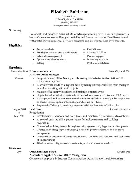 sample resume for office assistant manager