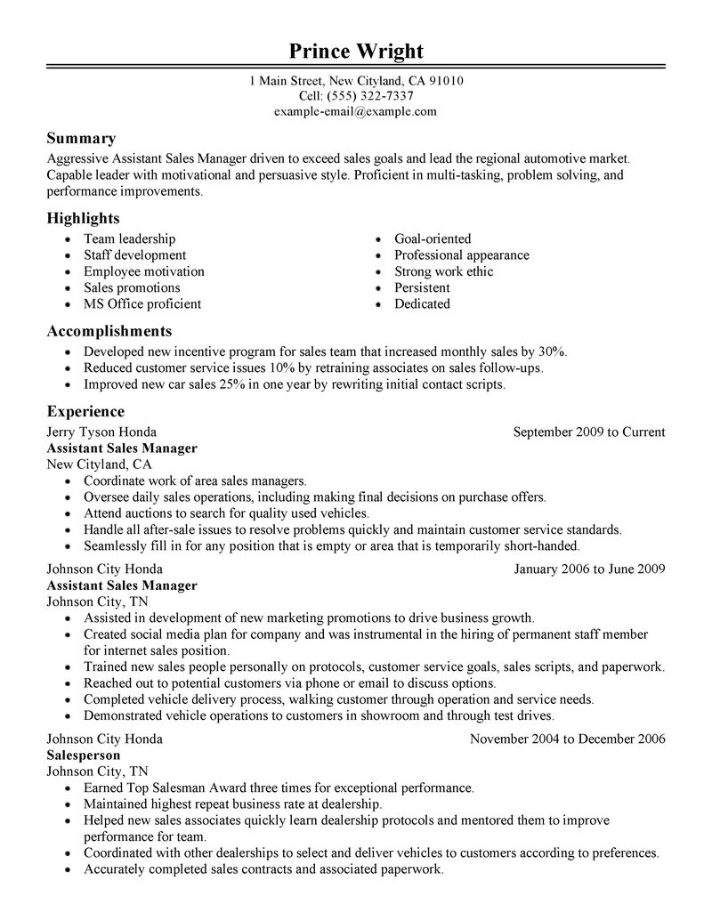 Administrative Assistant Resume Example Sample Best Automotive Assistant Manager Resume Example Livecareer
