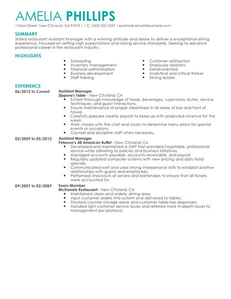 Best Restaurant Assistant Manager Resume Example LiveCareer - assistant manager duties resume