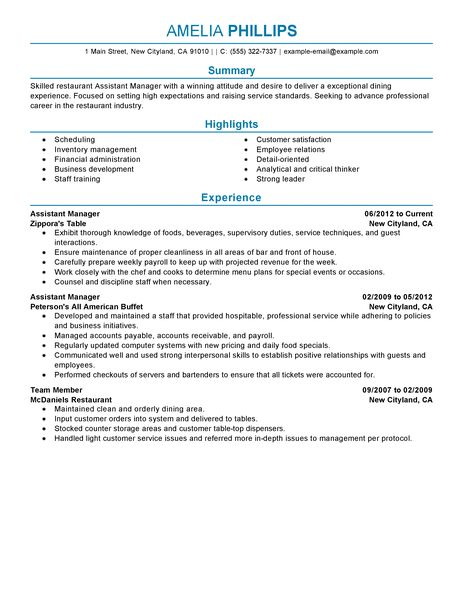 Best Restaurant Assistant Manager Resume Example LiveCareer - restaurant skills resume