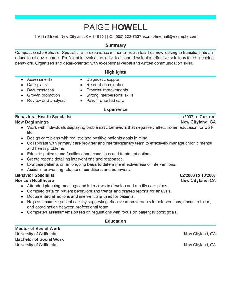 resume examples for young adults