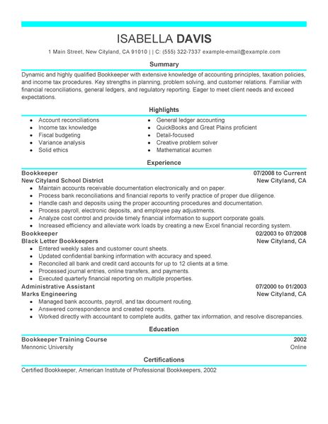 resume examples for payroll bookkeeper