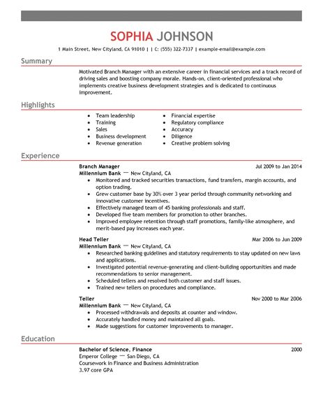 Sample Resume For Branch Accountant | Sample Resume Rn Objective