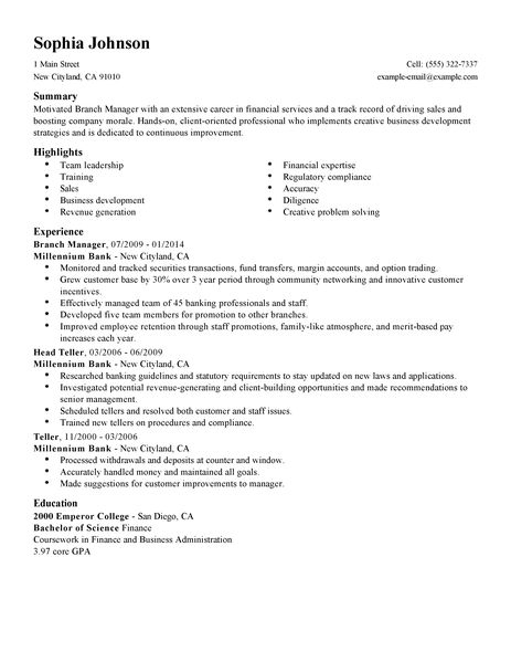 Functional Resume Bank Branch Manager Bank Branch Manager Resume Workbloom Best Branch Manager Resume Example Livecareer