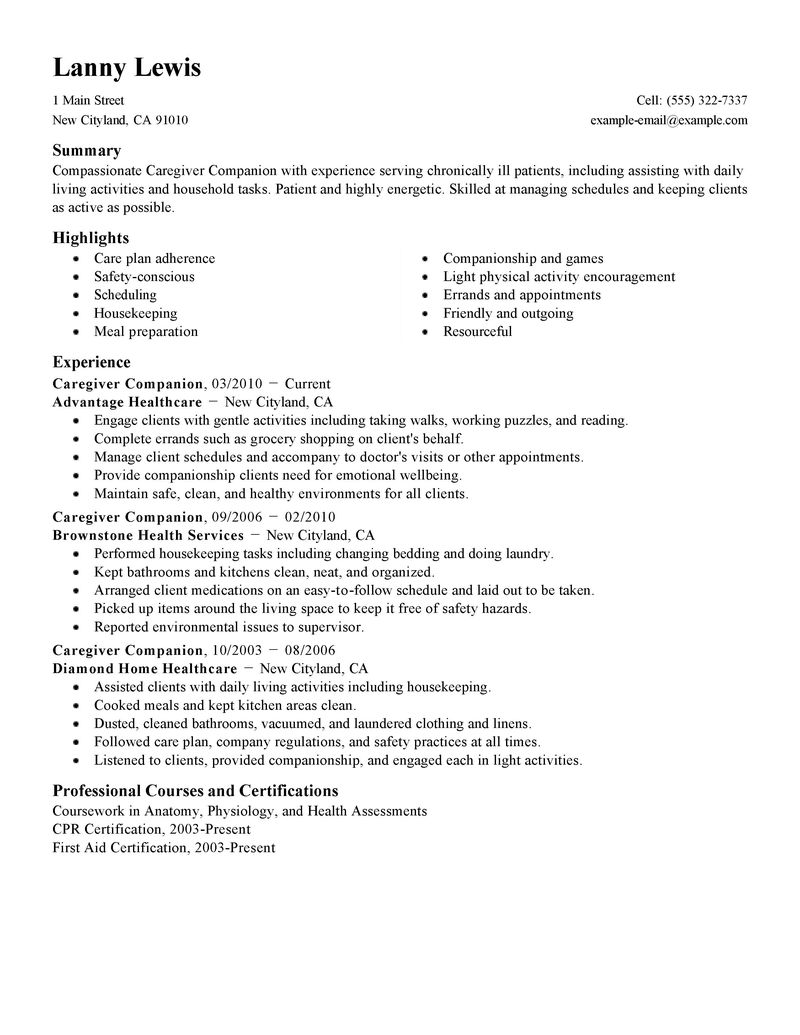 resume for caregiver job online resume format resume for caregiver job caregiver resume sample career enter companions resume examples wellness resume samples livecareer