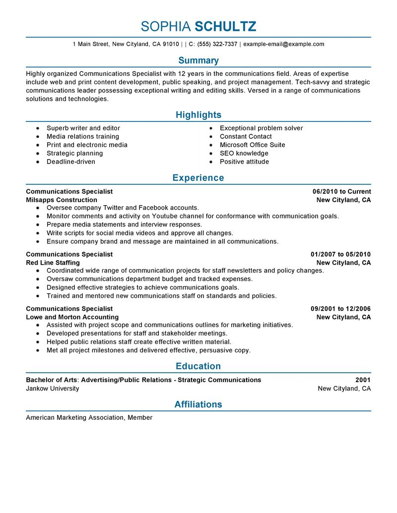 Vice President Resume Sample Example Executive Resumes Best Communications Specialist Resume Example Livecareer