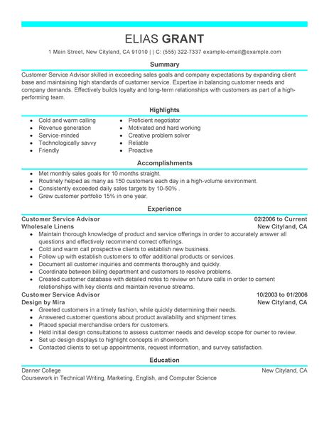 Best 10 Resume Writers Reviews Of Top Resume Writing Best Sales Customer Service Advisor Resume Example