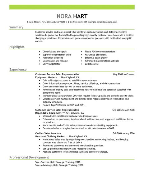 Customer Service Representatives Resume Examples Sales