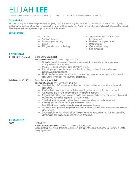 How To Get A Data Entry Job 12 Steps With Pictures Best Data Entry Resume Example Livecareer