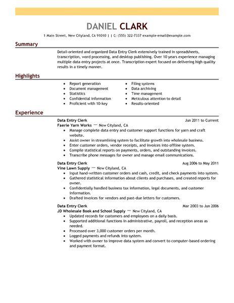 Sample Clerk Resume Entry Level Office Clerk Resume Sample Resume - clerical resume examples