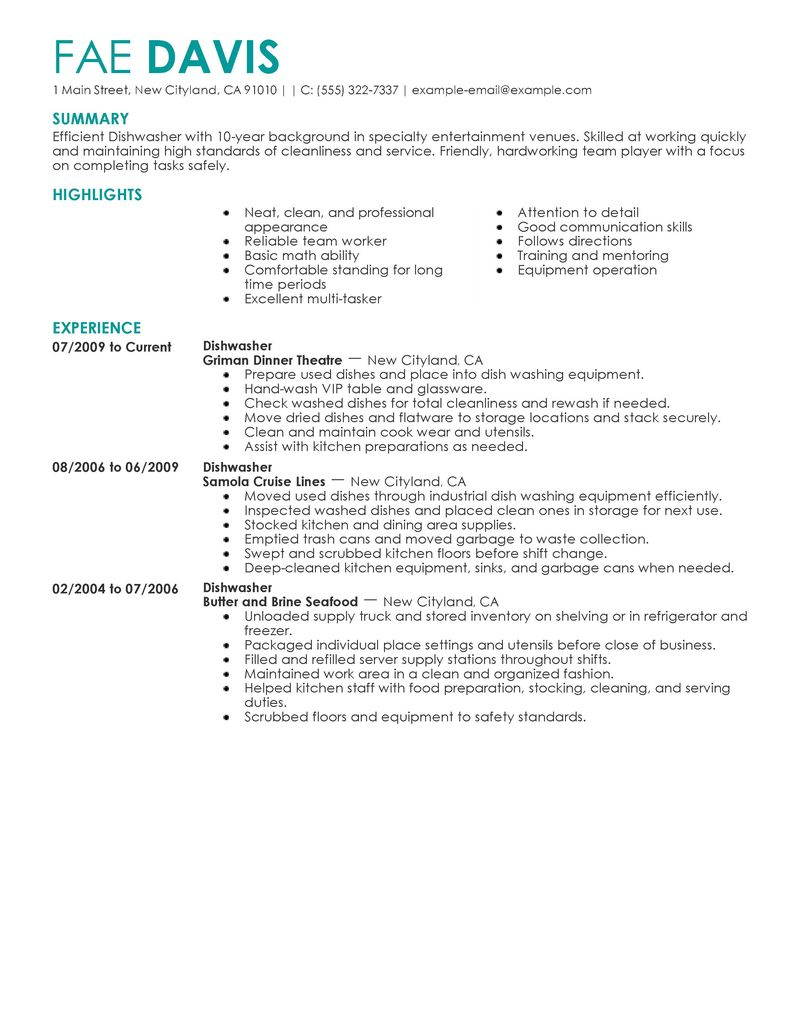 resume examples for a dishwasher