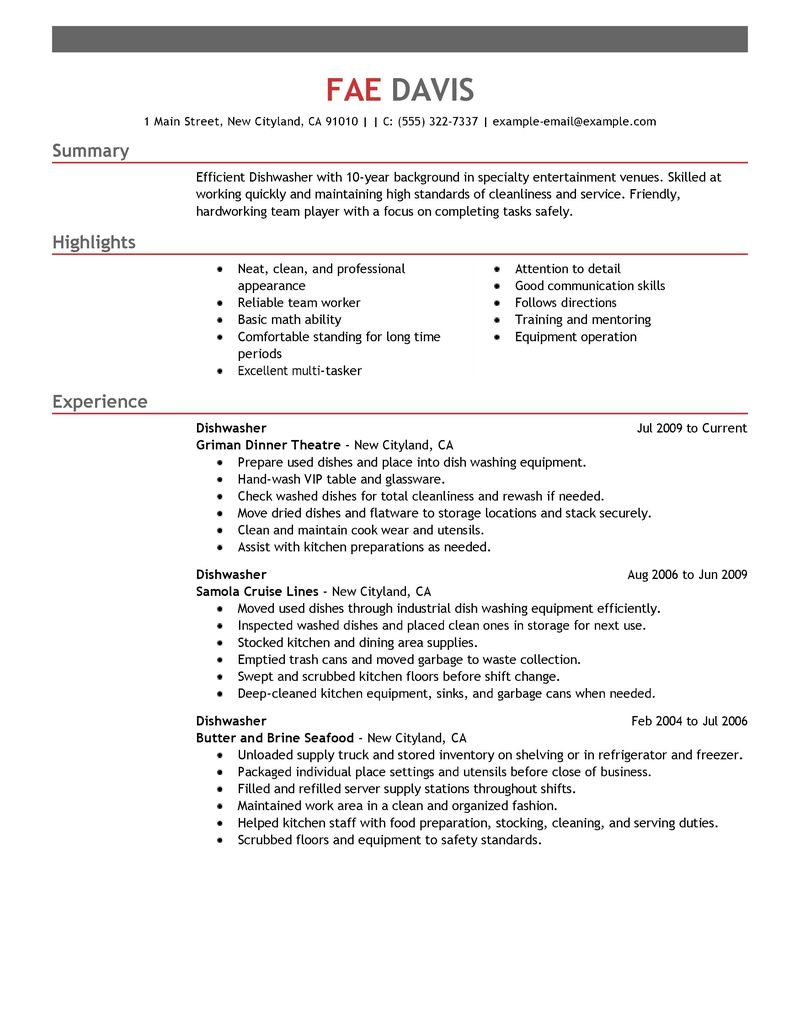 Kitchen Hand Resume Sample Cover Letters And Resume Best Dishwasher Resume Example Livecareer