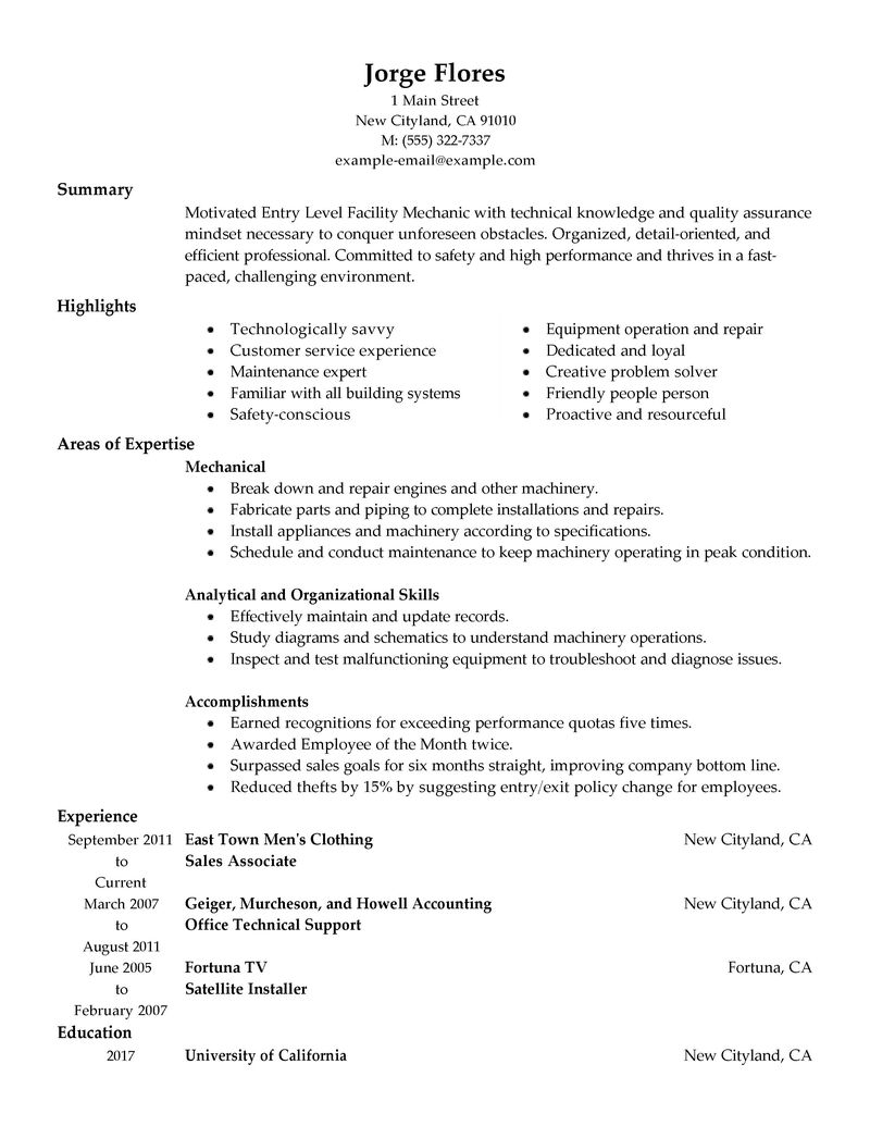 Automotive Technician Resume auto technician resume Entry Level Automotive Technician Resume Auto Technician Resume