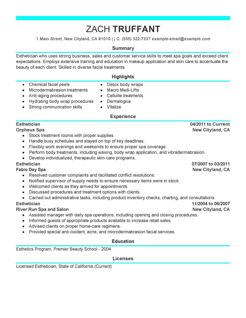 modern resume template for esthetician free