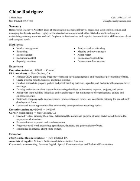Best Executive Assistant Resume Example LiveCareer - executive assistant resume summary