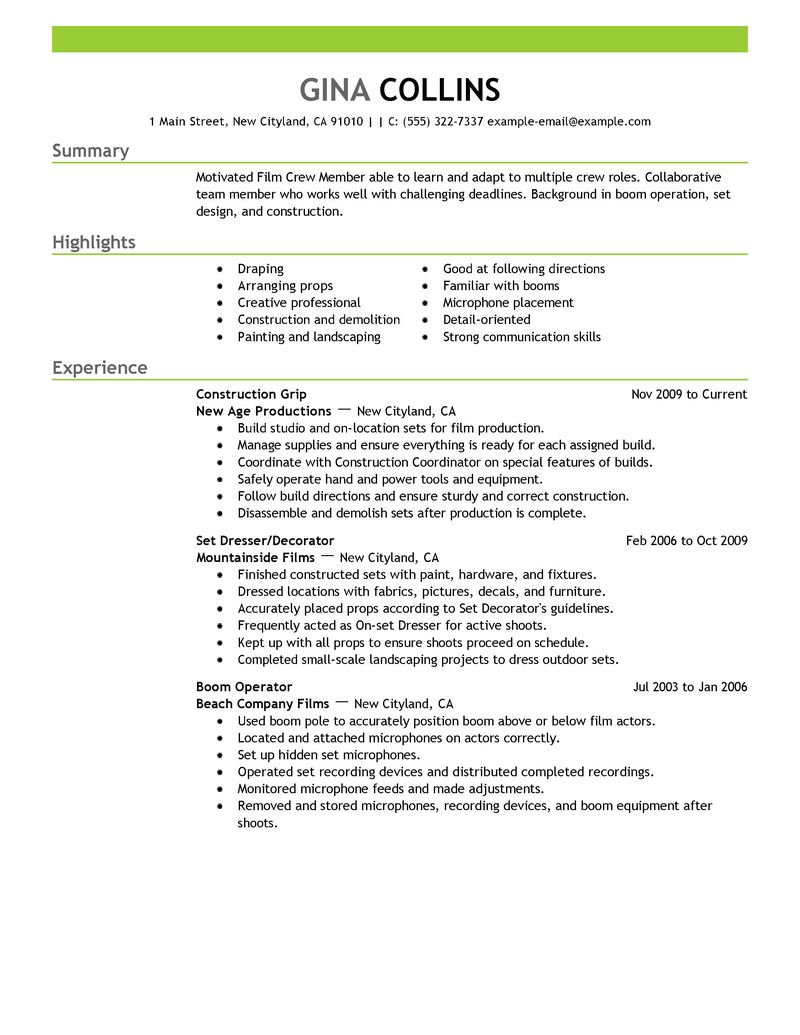 film production resume examples