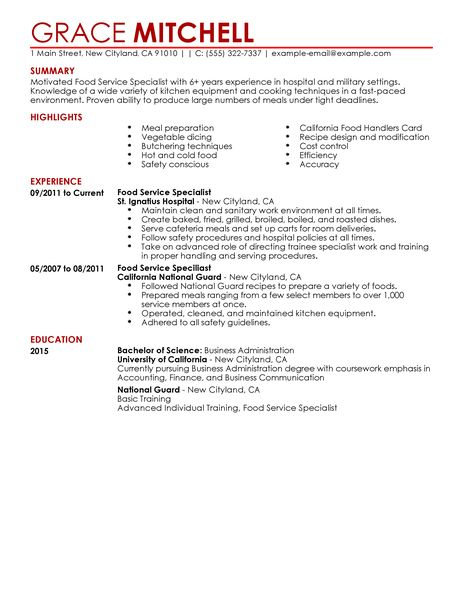 Simple Food Service Specialist Resume Example LiveCareer - examples of customer service resume