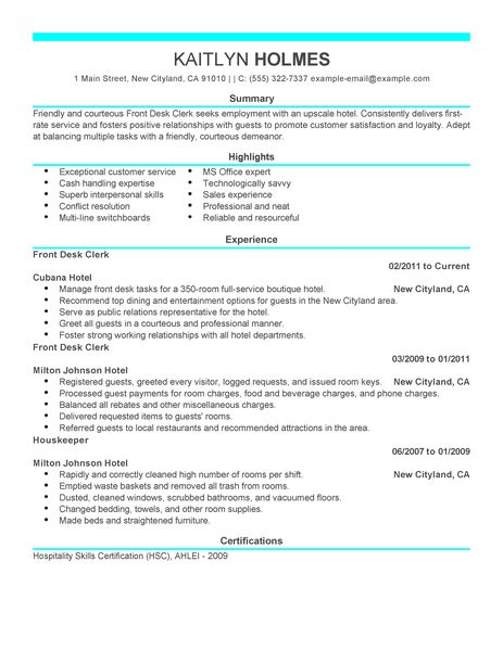 examples of hotel front desk clerk resume