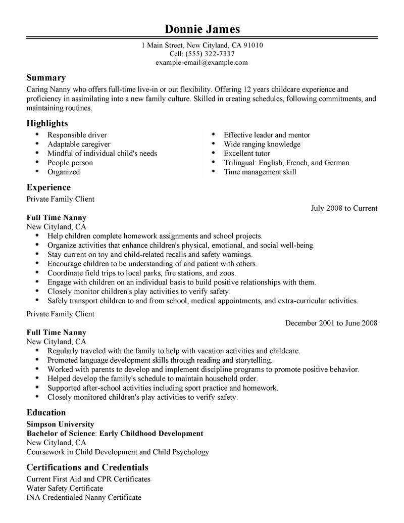 nanny position resume sample customer service resume yangi simple sample resume examples seangarrette resume skills nanny - Nanny Resume Sample