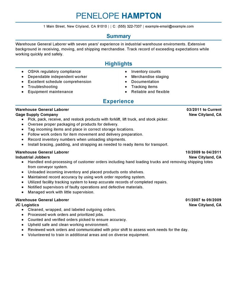 resume examples for laborer