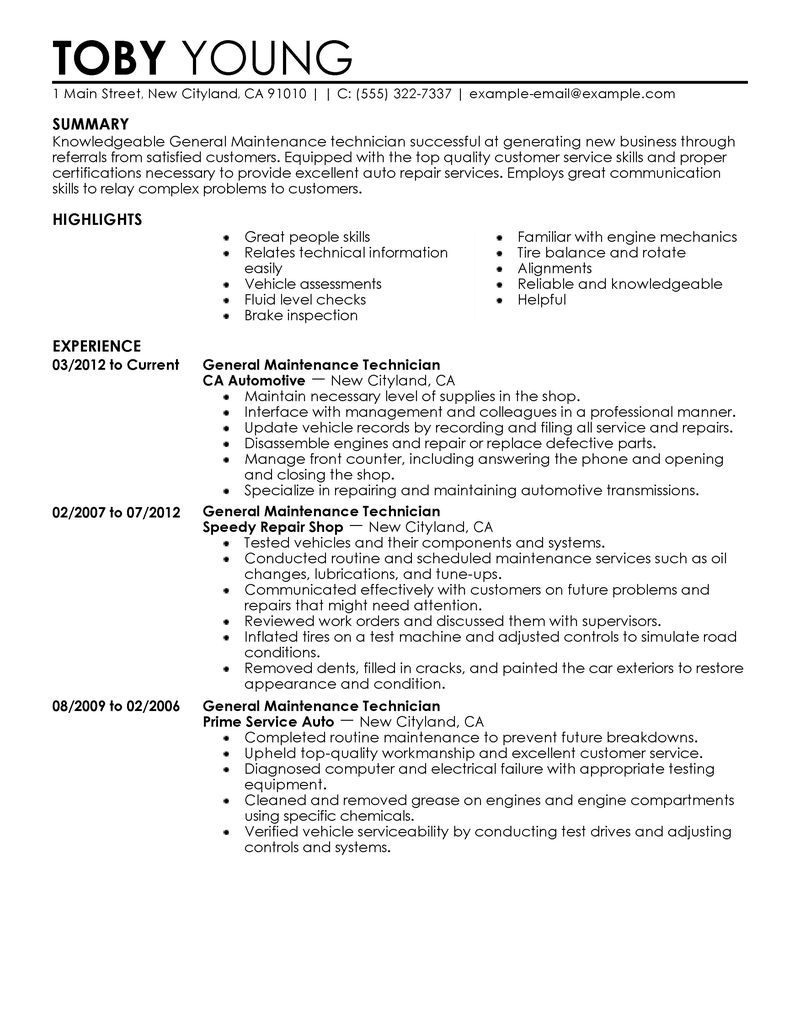 Automotive Technician Resumes Sample Service Resume Cover Letter Examples Building Maintenance