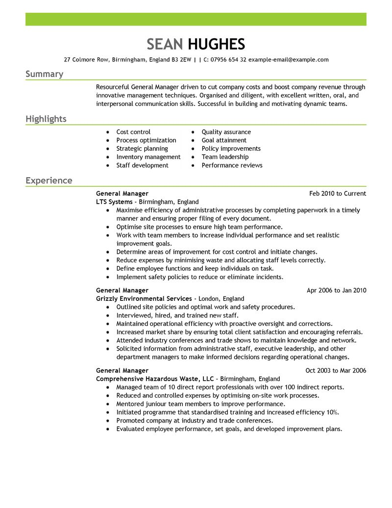 samples of restaurant general manager resumes