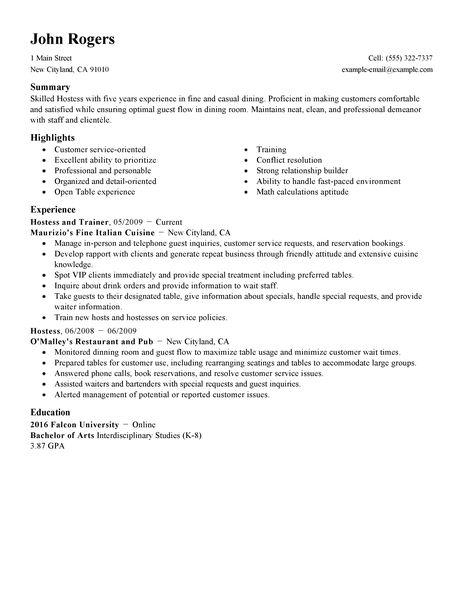 resume template for restaurant hostess