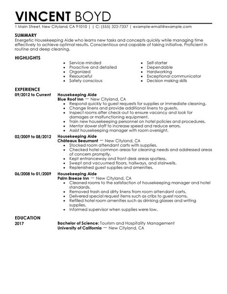 Example Of A Hospitality Resume Resume Examples Free Example Resumes And Resume Templates Best Housekeeping Aide Resume Example Livecareer