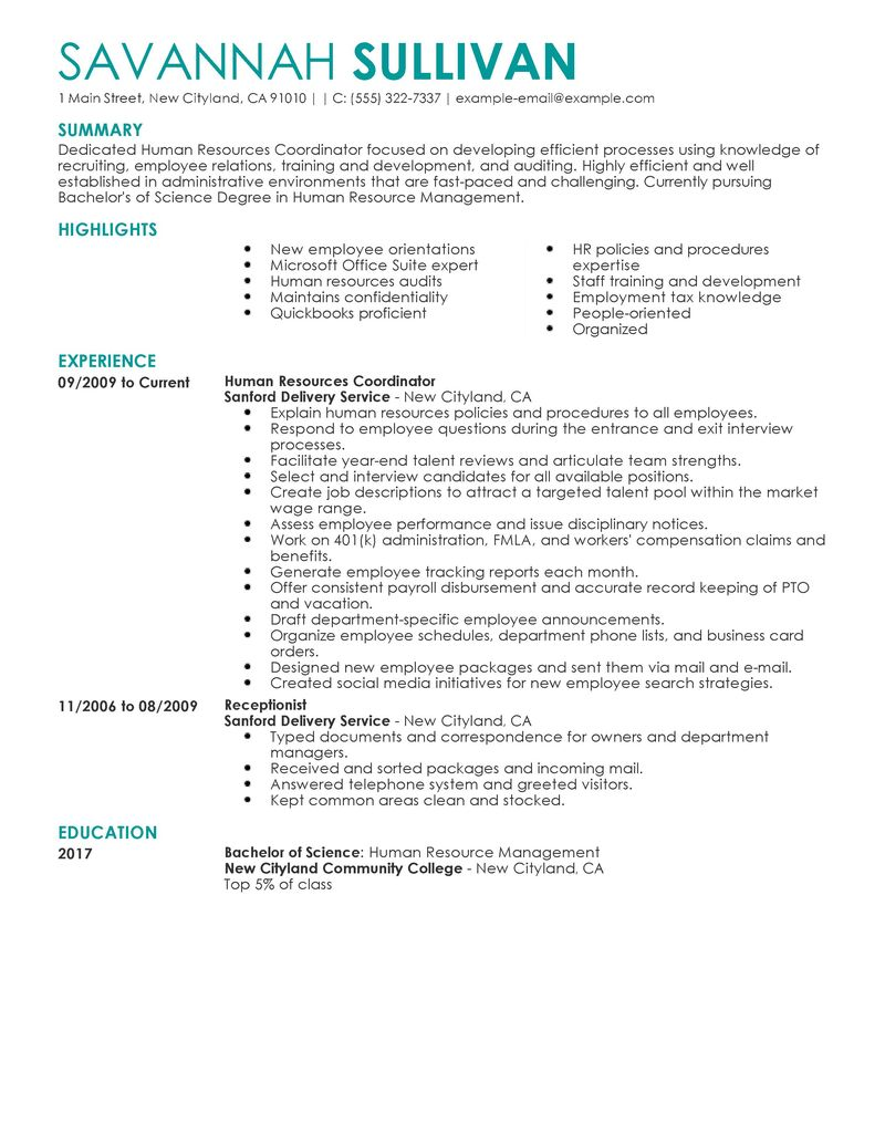 How Do I Create A Canadian Style Resume Settlementorg Best Hr Coordinator Resume Example Livecareer